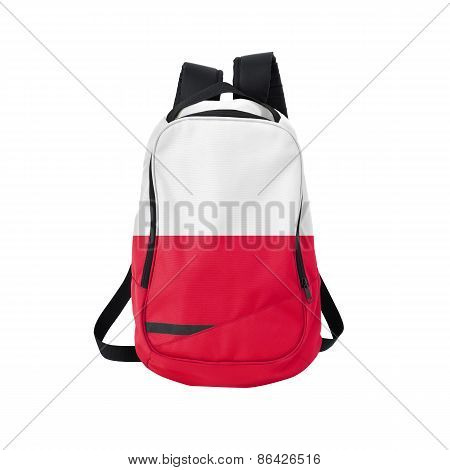 Poland flag backpack isolated on white background. Back to school concept. Education and study abroad. Travel and tourism in Poland poster