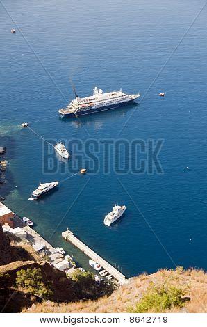 Cruise Ship Yachts, Old Port Harbor Santorini Greek Islands