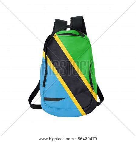 Tanzania flag backpack isolated on white background. Back to school concept. Education and study abroad. Travel and tourism in Tanzania poster