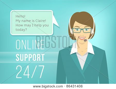 Call Centre Support Woman With Headphones