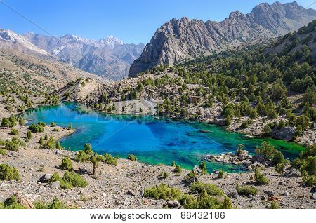 Majestic mountain lake in Tajikistan.
