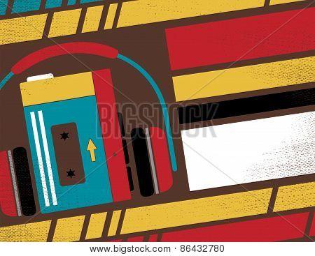 Retro Tape Cassette Player Club Flyer