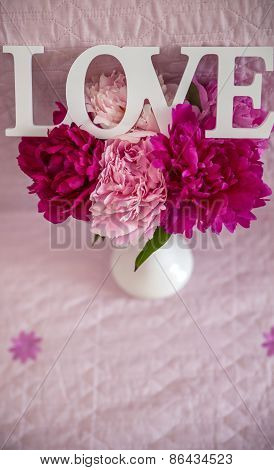 White Vase With Peonies And Love