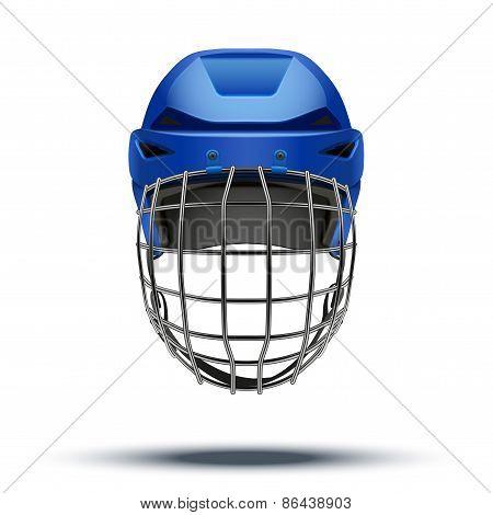 Classic blue Goalkeeper Hockey Helmet. Sports illustration isolated on white background. poster