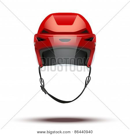 Classic red Ice Hockey Helmet with glass visor isolated on Background