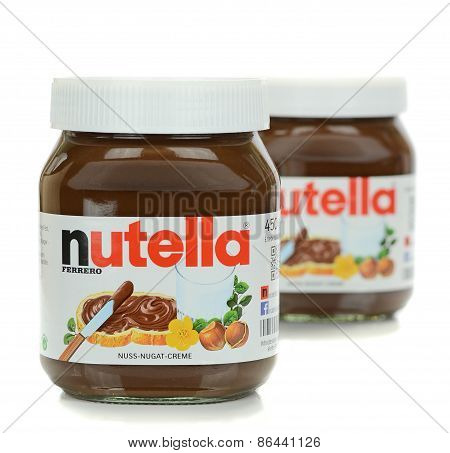 Two jars of Ferrero Nutella chocolate spread