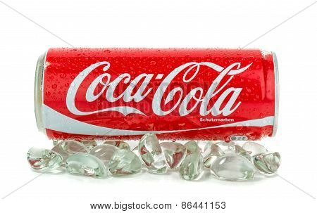 Cans of cola on ice