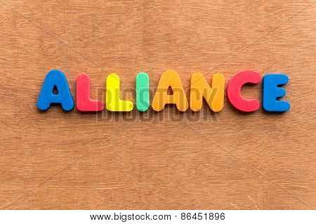 alliance colorful word on the wooden background poster