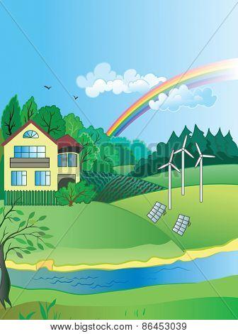 Ecology Concept Vector: modern village landscape.