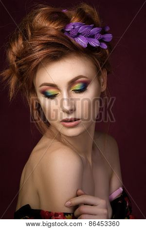 Portrait Of Beautiful Redhaired Woman With Colourful Creative Makeup