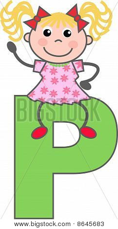 a girl with letter P