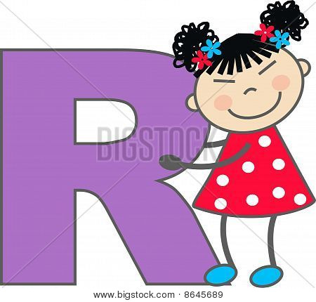 a girl with letter R