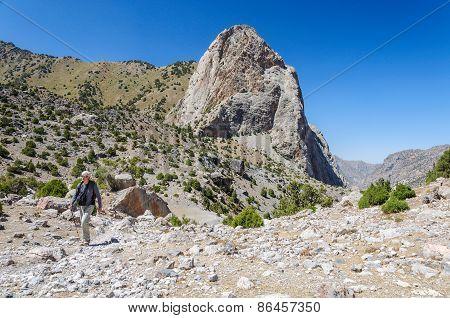 Man hiking in Tajikistan mountains