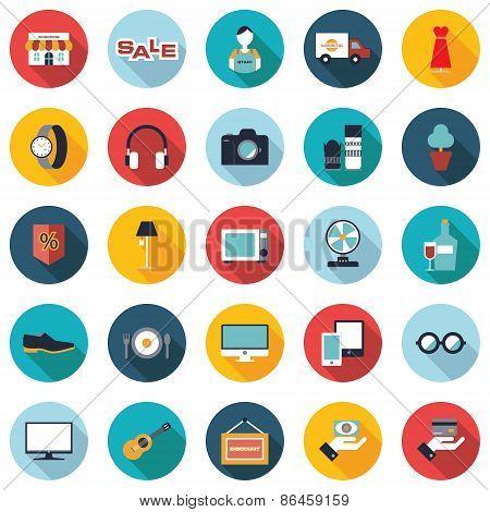 Set of 25 colorful shopping flat icons.