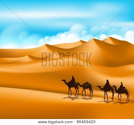 Group of Arab People with Camels Caravan Riding