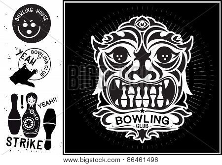 Vector totem mask isolated. Vintage Label in the form of a totem mask for the bowling club.