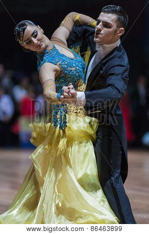 Minsk, Belarus-february 14, 2015: Professional Dance Couple Of Popov Alexandru And Medvedenco Evgeni