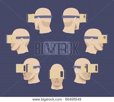 Cardboard virtual reality headset on the males head