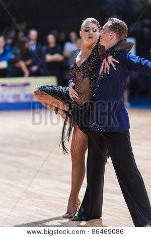 Minsk, Belarus-february 14,2015: Professional Dance Couple Of Chernenko Tymofiy And Chernenko Margo