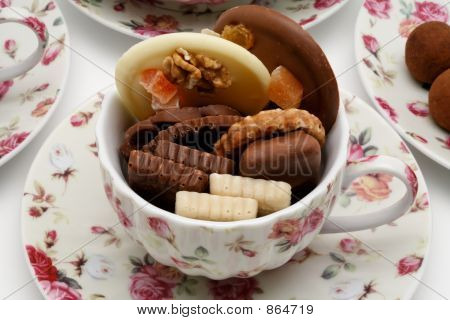 Chocolates in a cup of tea