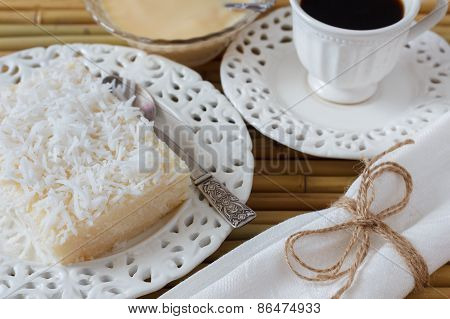 Sweet Couscous (tapioca) Pudding (cuscuz Doce), Coconut, Condensed Milk, Coffee