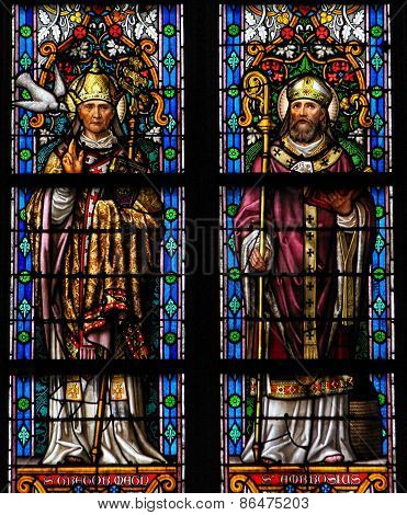 Stained Glass Of Saint Gregorius And Saint Ambrosius In Den Bosch Cathedral