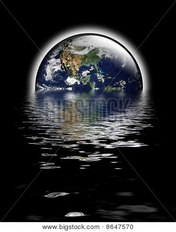 Earth As Glass Globe With Flood Waters