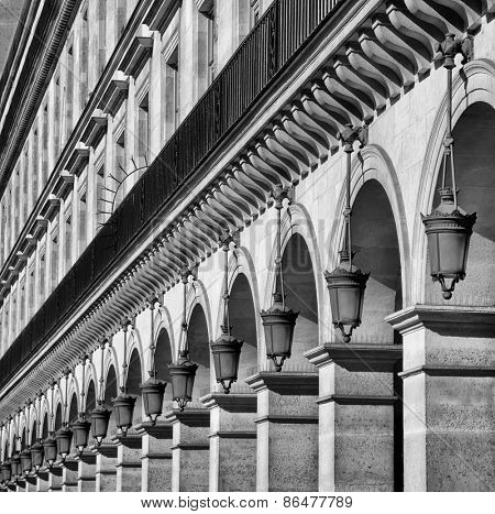 Row of street lamp at Rivoli Street in Paris, France in Black and white.