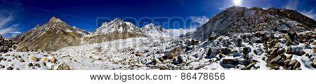 panorama of Gangotri glacier with Bhagirathi peaks in Garhwal Himalaya, Uttaranchal, Uttarakhand, In