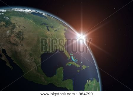 Beautiful Planet Earth. Sun rising over North America. poster