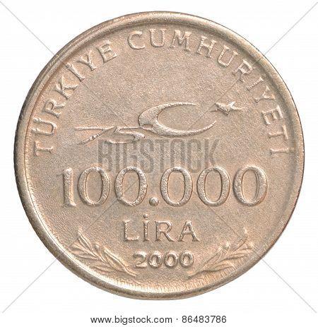 Turkish 100000 Lira closeup isolated on white background poster