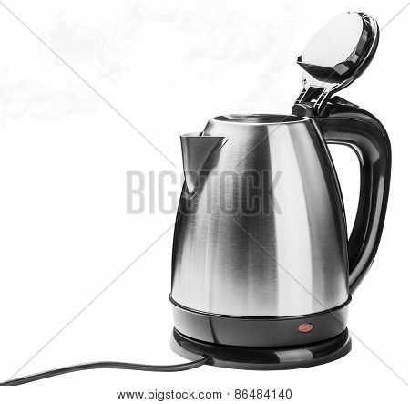 Stainless Steel Electric Kettle On The White