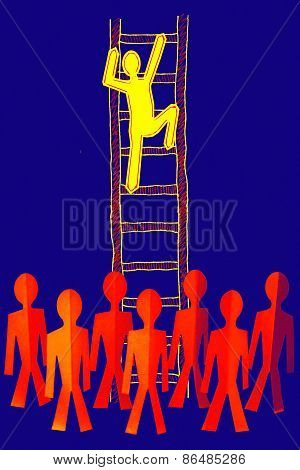 Paperman On Ladder, Success Ladder Concept