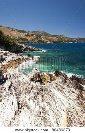 Rocky Natural Coastline Of Greek Island