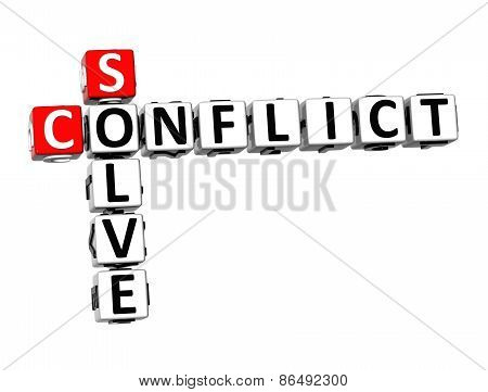 3D Crossword Conflict Solve On White Background