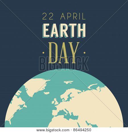 Vintage Earth Day Celebrating Card Or Poster Design