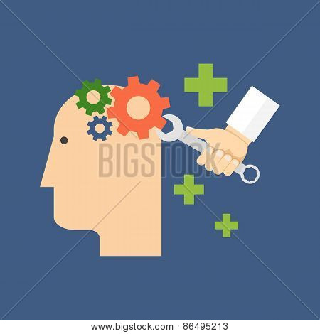 Psychology psychotherapy mental healing concept. Flat design. Isolated on color background poster