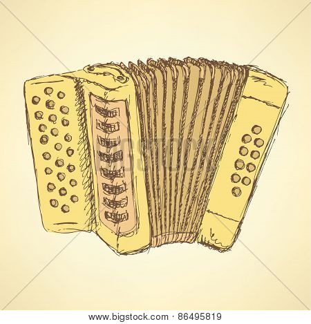 Sketch Accordion Music Instrument