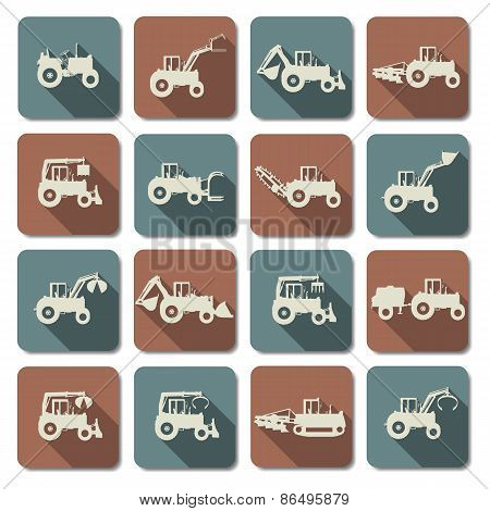 Vector Tractor Flat Icons