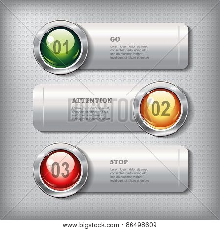 Set Of Horizontal Metallic Banners With Round Shiny Buttons
