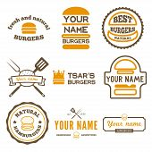 Set of logo, labels and logotype elements for fast food restaurant, cafe, hamburger and burger poster