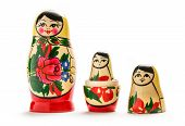 Russian dolls matreshka on the white background poster