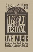Poster for the jazz festival with a saxophone and a vinyl record poster