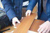 wood floor parquet shop selecting variants hands closeup poster