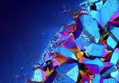 Extreme sharp and detailed surface of Titanium Aura Crystal Cluster stone at 20x magnification taken with Mitutoyo microscope objective poster