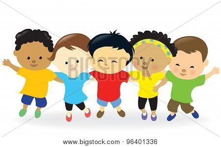 Kids group together