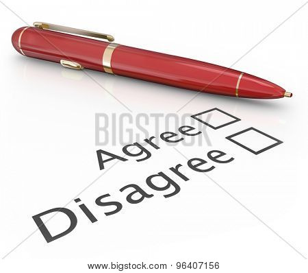 Agree and Disagree check boxes with pen to choose or vote a final answer to approve or disapprove a proposal or question