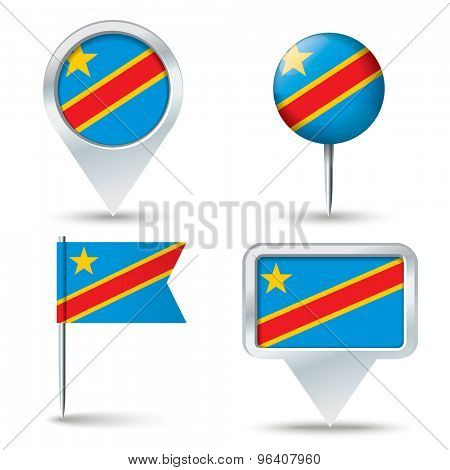 Map pins with flag of Congo (DRC) - vector illustration