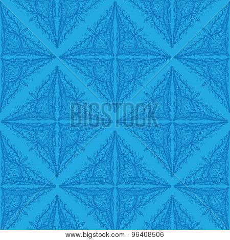 Leaf flower pattern ornament in blue background