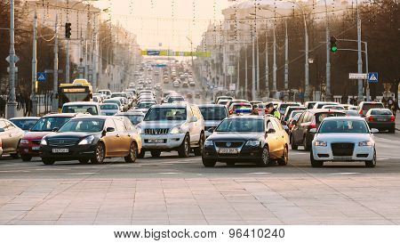 Busy Independence Avenue During Evening Time. Traffic Slow Movin